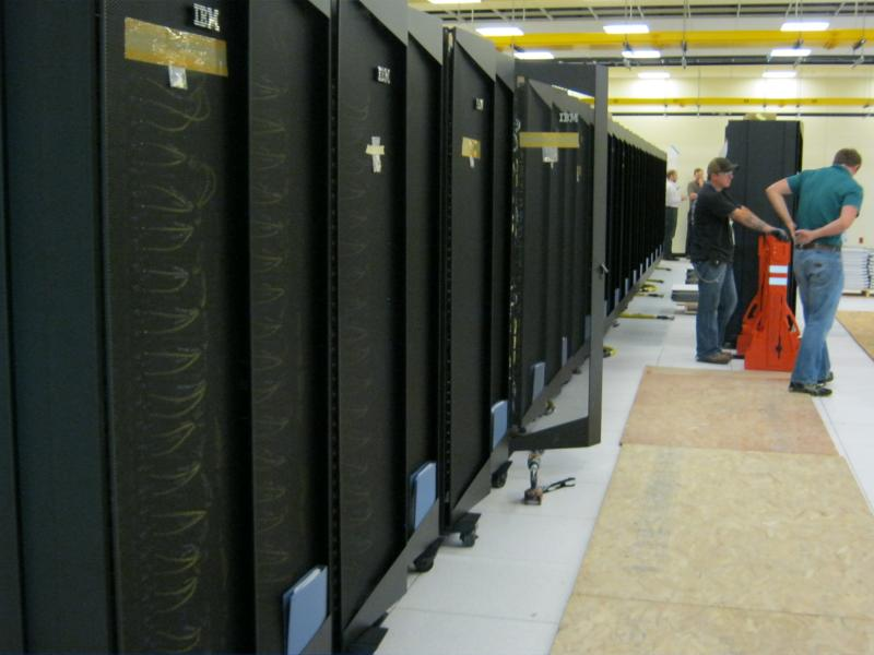 Workers piece together computers at NCAR