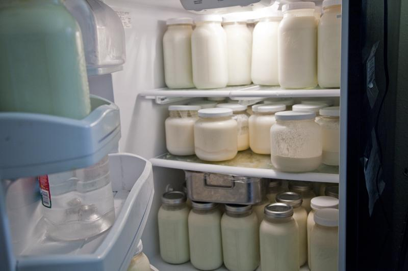 Raw milk in jar ready to be picked up by cow share owners.