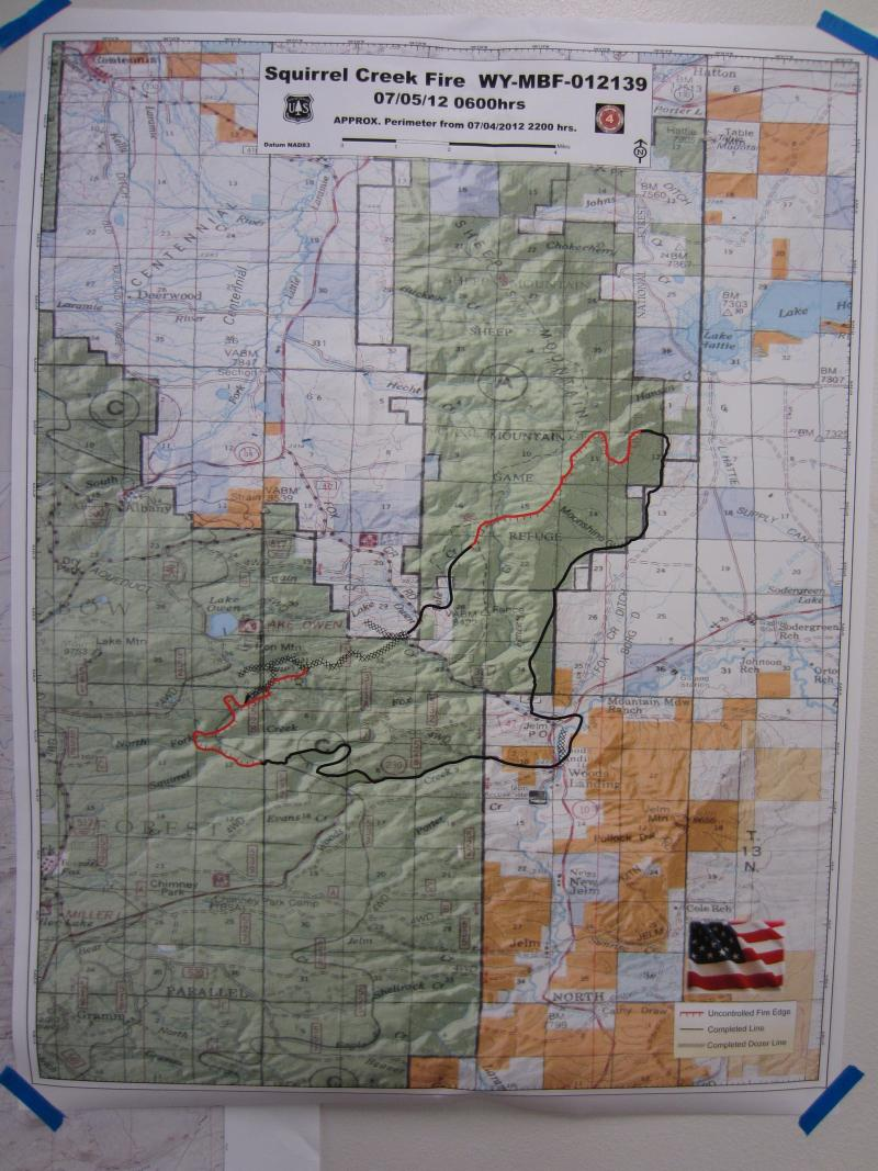 Incident Command's most recent map of the Squirrel Creek fire, posted in the evacuation center at the Albany County Fairgrounds