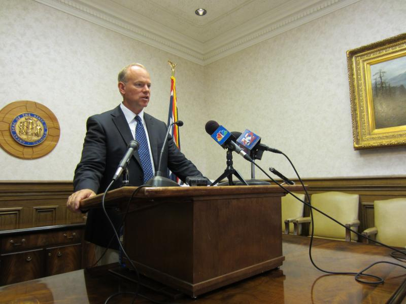 Governor Matt Mead talks to the media