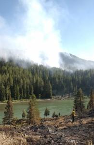 Smoke rises from the Horsethief Canyon Fire near Jackson.
