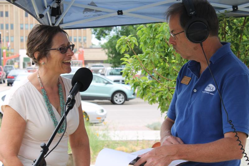 Morning Music Host Grady Kirkpatrick interviewing StoryCorps team leader Lisa Polito