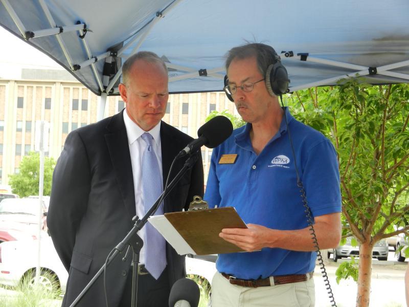 Governor Matt Mead being interviewed by Morning Music Host Grady Kirkpatrick