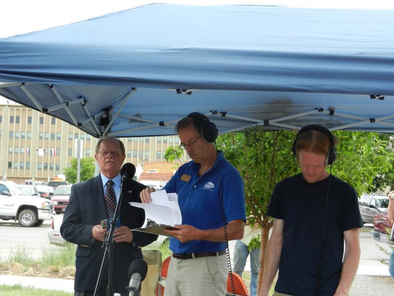 Cheyenne Mayor Richard Kaysen, Morning Music Host Grady Kirpatrick and WPM Engineer Ben Slater prepare for a live interview