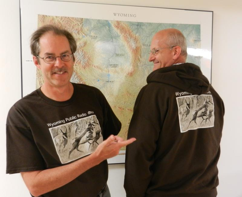 Morning Music Host Grady Kirkpatrick and News Director Bob Beck model our new pronghorn t-shirt and sweatshirt.