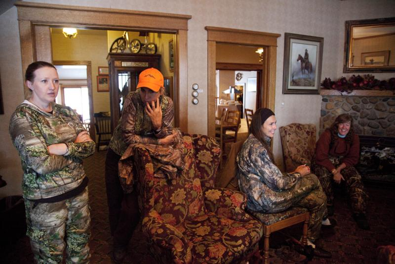 Hunters wait out the storm on the first day of the Women's Antelope Hunt