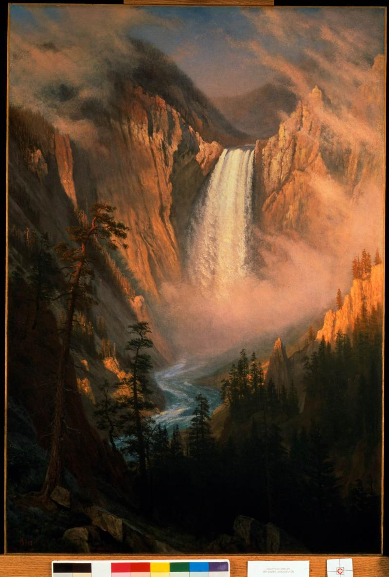 Albert Bierstadt, Yellowstone Falls, ca. 1881, oil on canvas. Buffalo Bill Center of the West, Gift of Mr. and Mrs. Lloyd Taggart, 2.63.