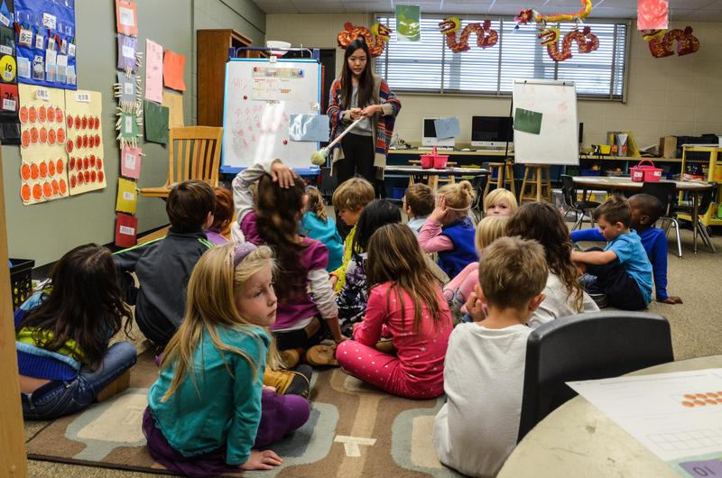 Kindergarteners in the dual language immersion program at Paradise Valley Elementary School spend half their day learning in Chinese.