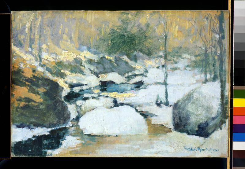 Frederic Remington, Untitled (Impressionistic winter scene of streams, rocks and trees), date unknown, oil on board. Buffalo Bill Center of the West, Gift of The Coe Foundation, 75.67.
