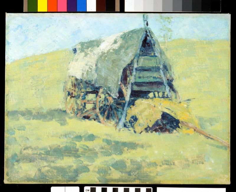 Frederic Remington, Untitled (Buffalo hunter wagon covered with tarp), date unknown, oil on board. Buffalo Bill Center of the West, Gift of The Coe Foundation, 39.67.