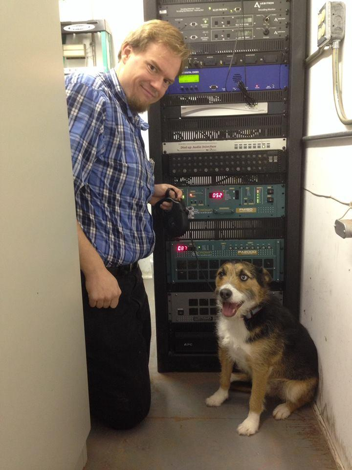 This is Leo, our husky-JRT, in front of the KLOF (K-Love, Gillette) equipment rack, with KUWG on the left.