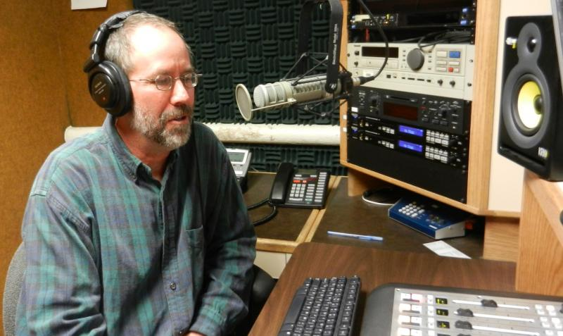 Dr. Jeffrey Lockwood being interviewed by phone in WPR's studio C