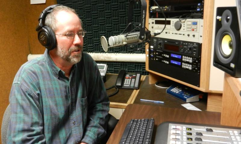Dr. Jeffrey Lockwood being interviewed by phone in WPR's studio C