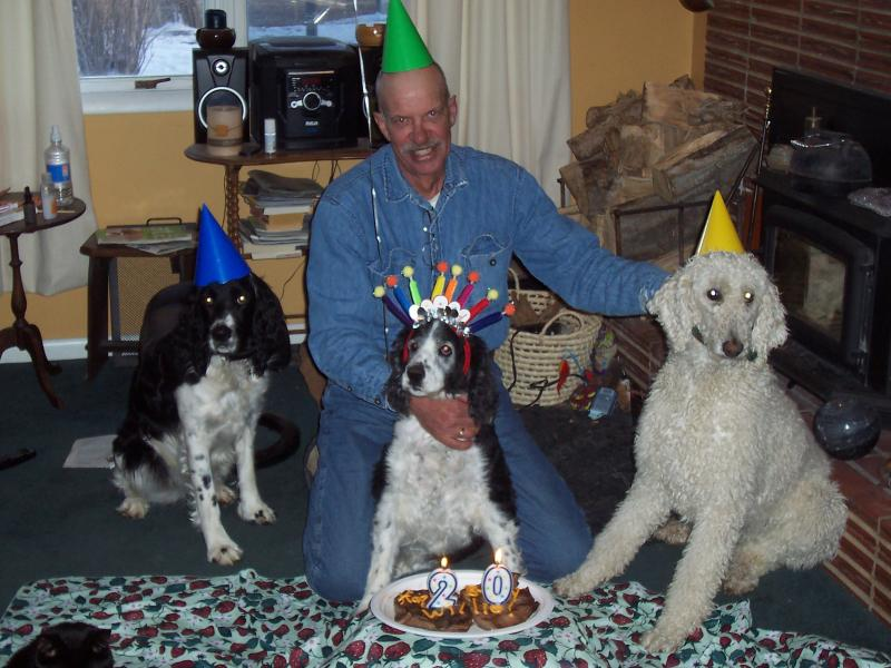 My dog Willie at her 20th birthday party with Tuck and Sook. We celebrated with steak decorated with canned cheese and candles.