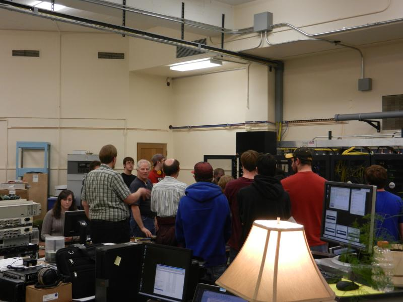 UW Electrical Engineering students tour the Wyoming Public Radio Tech Center, with engineers Shane Toven, Reid Fletcher and webmaster Anna Rader.