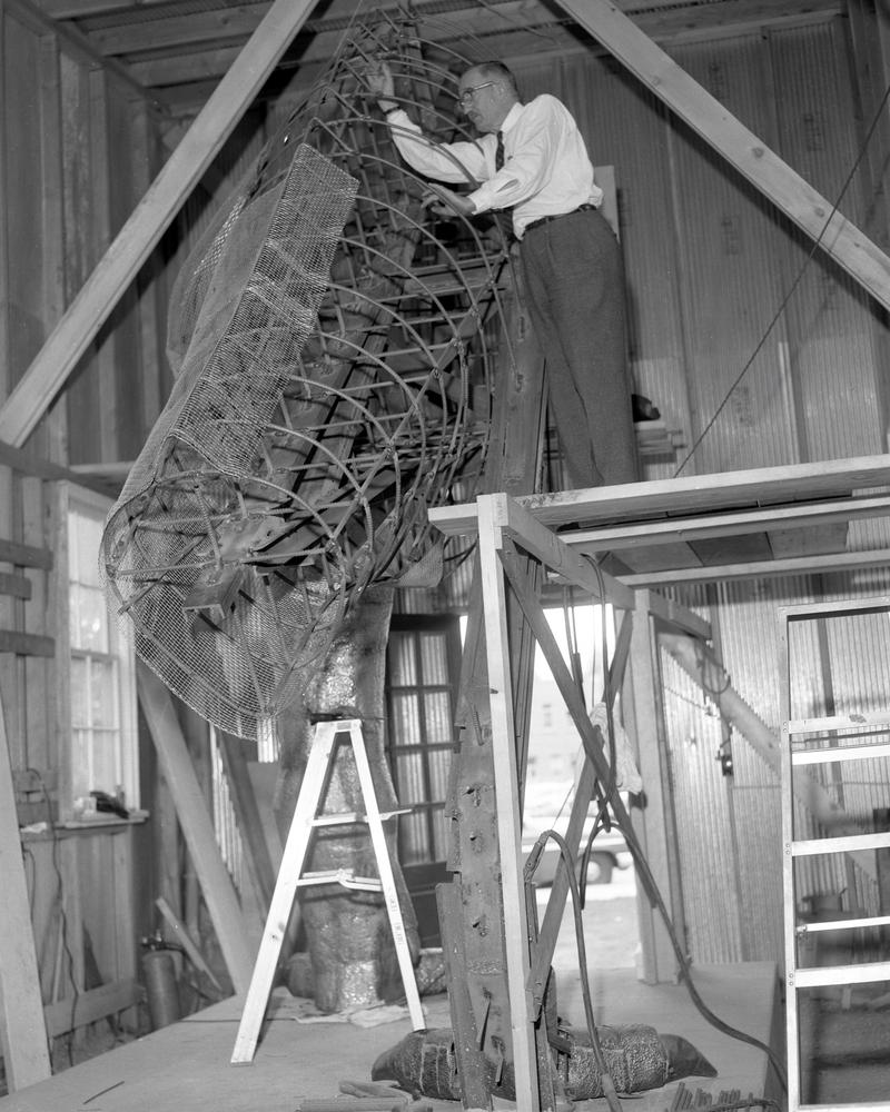 UW Professor Samuel H. Knight built the statue. He spent more than 4,000 hours welding the 45-foot-long steel support structure and hand-hammering the copper plates to create the skin texture.