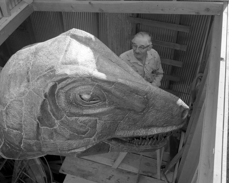 UW Professor Samuel H. Knight works on the head of his statue during its constuction in 1963.