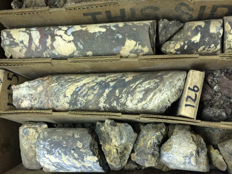 The yellow in these rock cores is a mineral called bastnaesite, which contains all 17 rare earths elements. The deposit Rare Element Resources is targeting is particularly rich in the heavier, more expensive rare earth elements.