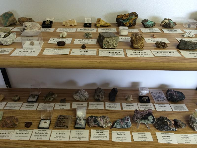Rare Element Resources geologist Joe Monks collects rare earth-containing rocks in his office in Sundance.