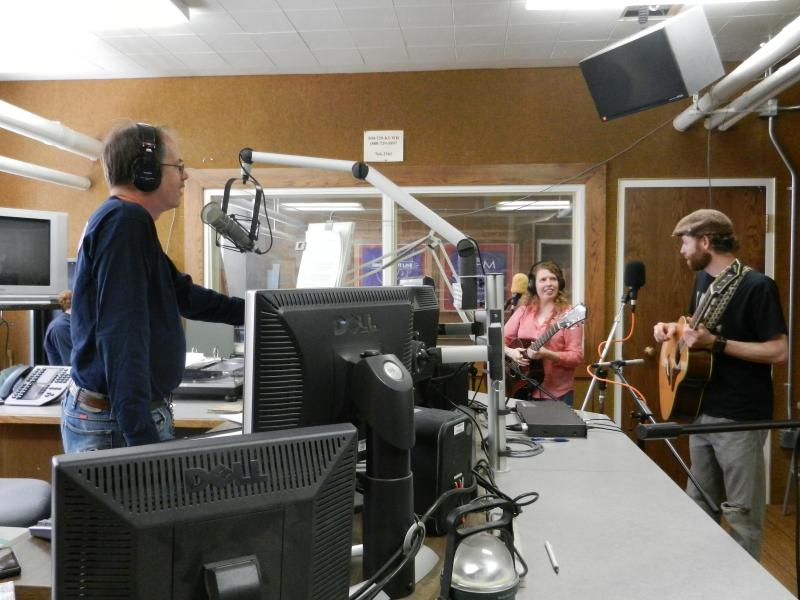 Morning Music Host Grady Kirkpatrick interviewing Screen Door Porch on Morning Music.