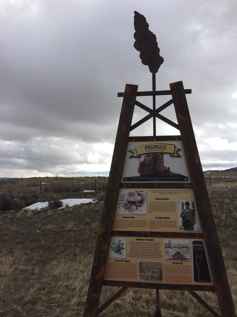 The State of Wyoming set up this roadside information plaque about the Teapot Dome scandal.