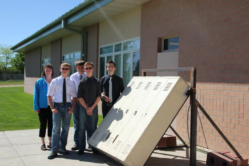 Miken Harnish, Christian Moody, Joey Madsen Haiden Moody, and Jacob Stafford pose with their project.