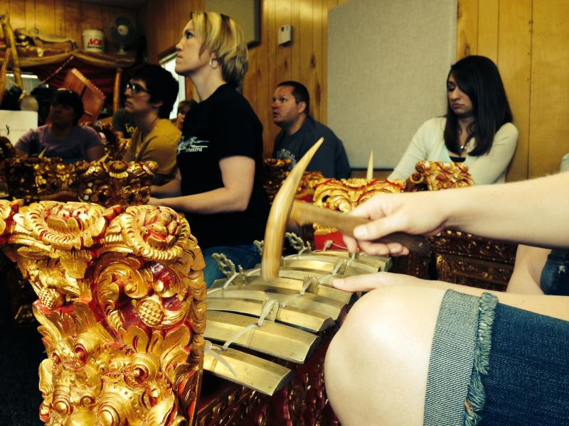 Students in the UW Music Education summer master's program play Balinese gamelan.