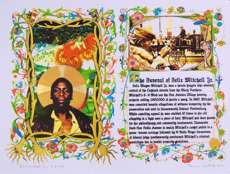 """Felix Mitchell Jr""; silkscreen with gold leaf; 30 x 22; 2013"