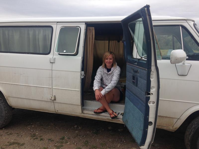 Christen Johnson and the van she's living out of a few miles outside Jackson, Wyoming.