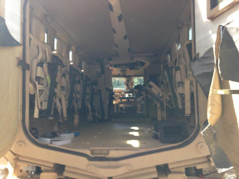 Inside a MRAP vehicle.