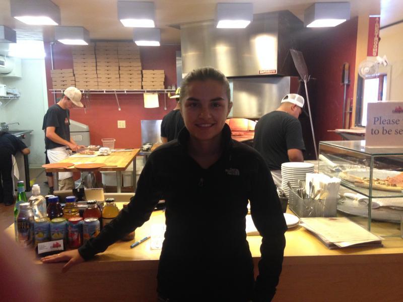 Moldovan server Nina Maico at Caldera's.