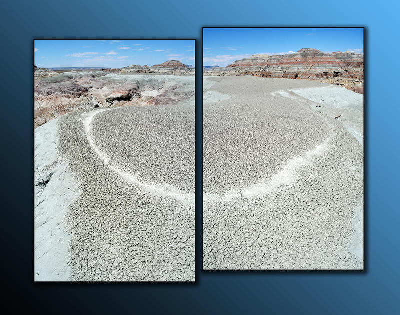 A diptych taken from on top of one of the Honeycomb Buttes.