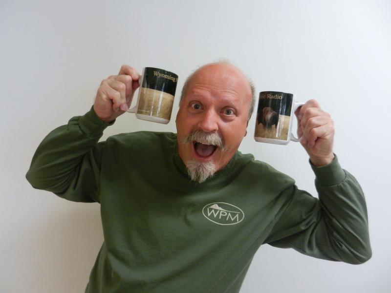 Photographer Dan Hayward with the new bison mugs.