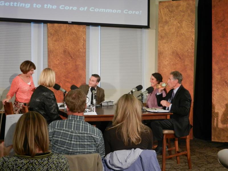 The Education Forum panel: Amy Edmonds, Jayne Wingate, Aaron Schrank, Kathy Vetter, and Mark Stock.