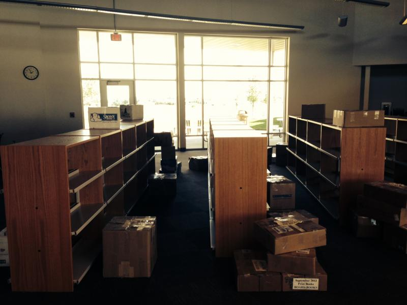Class is in session, but new library shelves still sit empty at the new Westwood High School building.