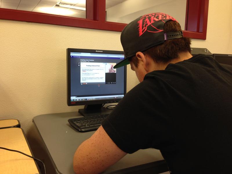 Ranso Ferris takes his online math class through Edgenuity.