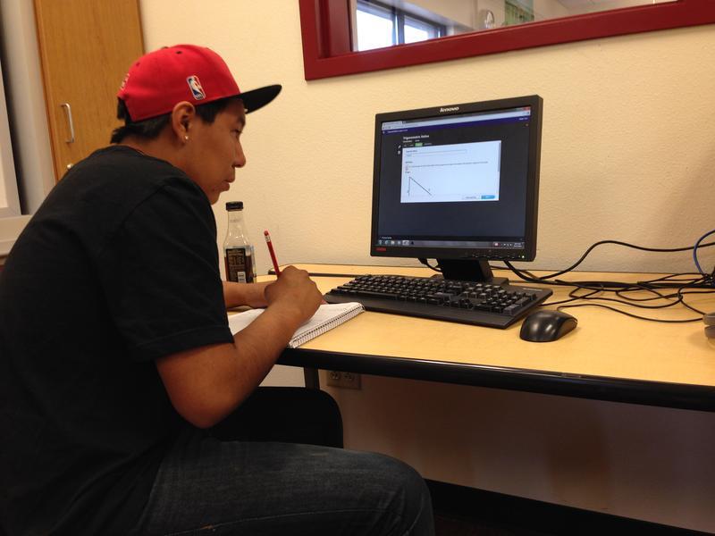 Isaac takes online math class through Edgenuity.