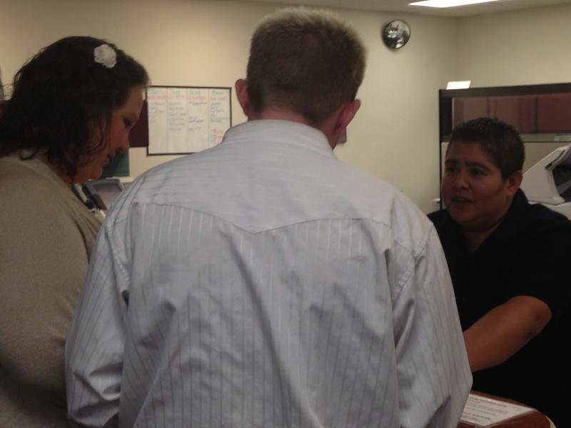 Mumaugh and McDaniel get their marriage license.