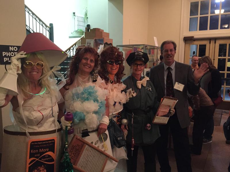 The winners of our costume contest, Ken More and the Appliances, pose with Grady Kirkpatrick. From L-R, Suzie Young, Jan Nachtigal, Cathy Gorbett, and Vicky Kmetz.