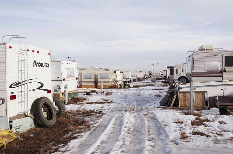 Fox Run RV park in Williston, North Dakota, is home to hundreds of workers brought to the Bakken by its oil boom. RV parks are a cheap option in Williston, where apartment rents can rival Manhattan, but living in one full time requires a lot of work durin