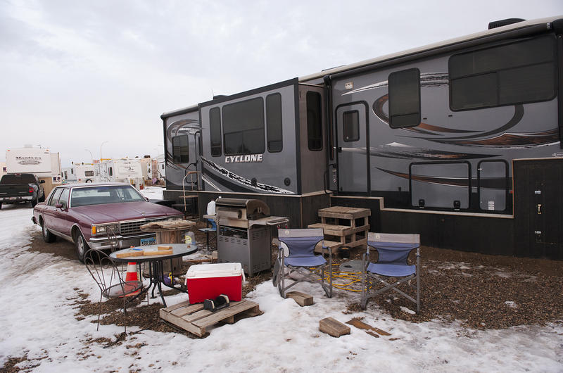 Throughout the Bakken, cooking grills and patio furniture are found outside RVs like this one in Stanley, North Dakota.