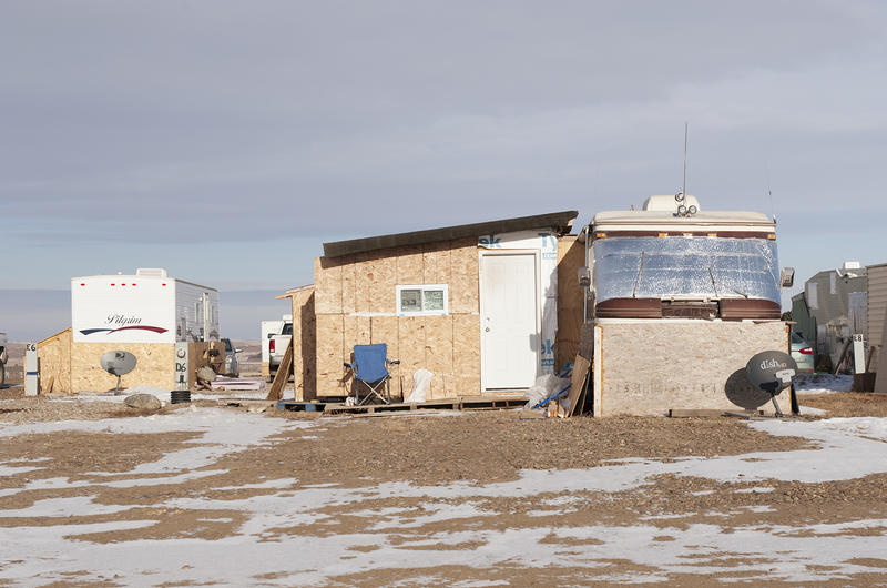 For permanent RV residents in the oil field, space is at a premium. Some enterprising owners build mud rooms that rival the trailers they are attached to in size, like this on at Fox Run RV Park in Williston, North Dakota.