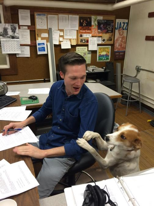 That time we let Lark into the studio and she tried to take over from Aaron Schrank. It's Pet Wednesday! Pledge!