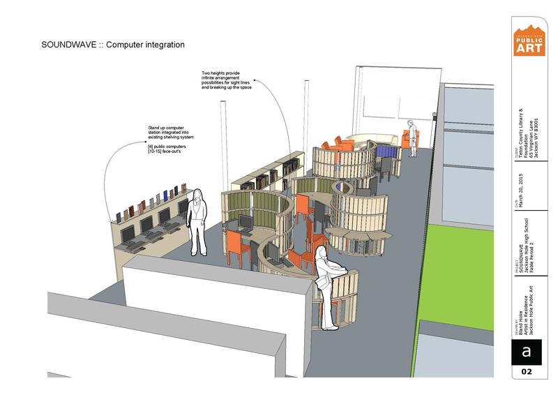 Construction plans for the Jackson Hole High School students SOUNDWAVE project for Teton County Library's Teen Wing.