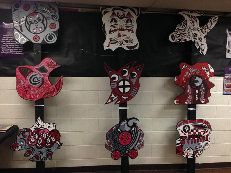 "Student artwork created for Gabe Joyes and Leah Maltbie's ""The American West"" class, which explored the history, art and culture of different indigenous groups in the West over the past semester."