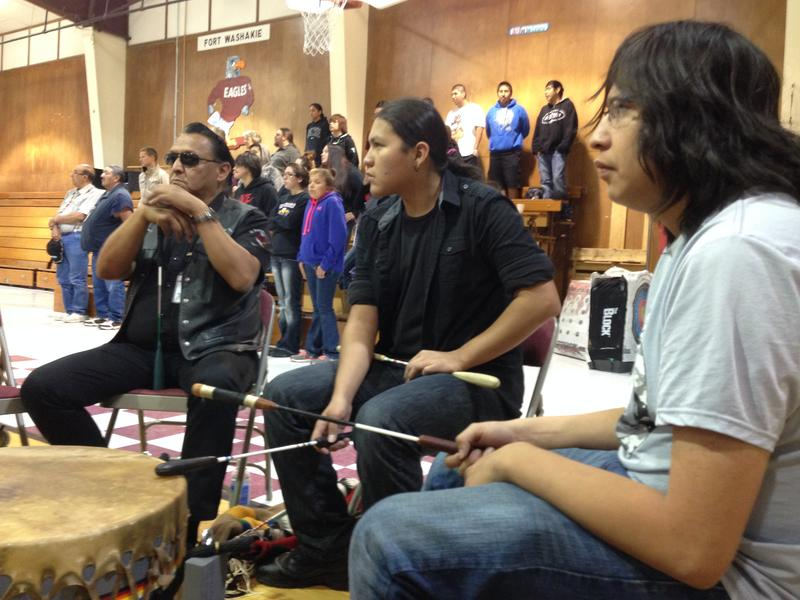 Manny Vasquez, Harold Friday and Manny's father, who works security at Fort Washakie School, played the drum and sang together for the school's annual pow-wow.