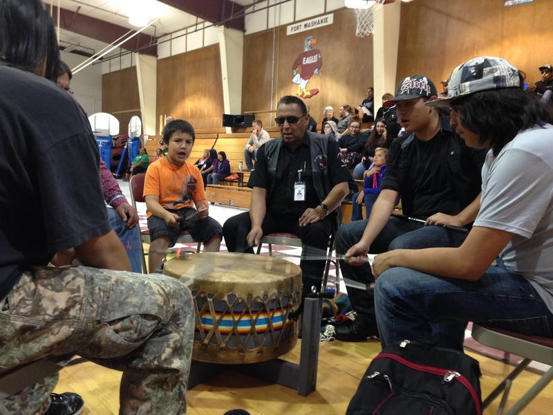 "Manny Vasqeuz, Harold Friday, Keenen Large and others play the drum and sing for Fort Washakie's annual ""Indian Days"""