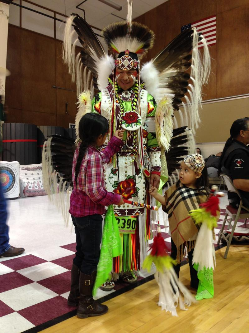 Fort Washakie School teacher George Abeyta with his daughters.