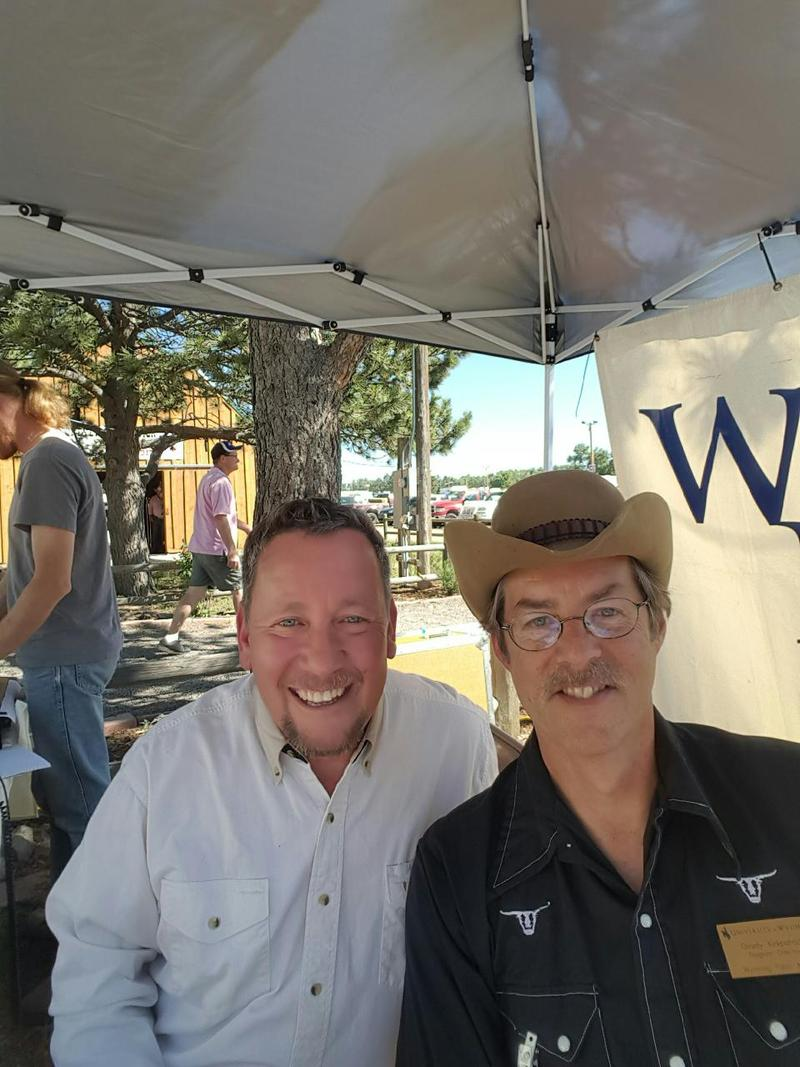 Morning Music hosts Paul Montoya and Grady Kirkpatrick take a selfie during the live show.