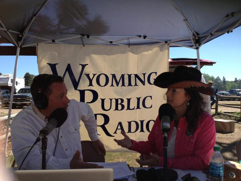 Morning Music's Paul Montoya speaking with Lisa Murphy, a member of the board of directors for Cheyenne Frontier Days